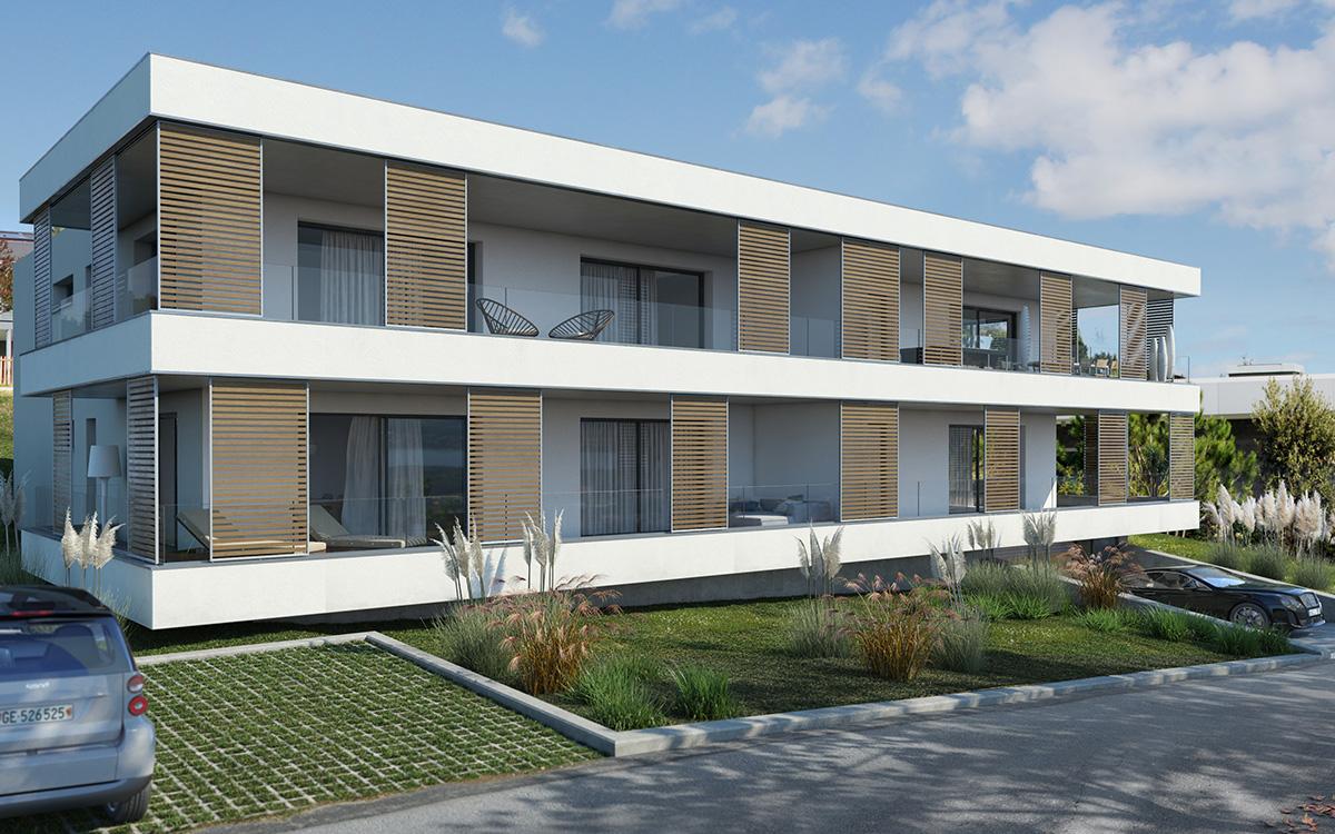immeuble begnins, begnins immobilier, promotion, image 3D, image de synthèse, Begnins Les Terrasses du Léman, Les Térasses du Léman, immobilier.