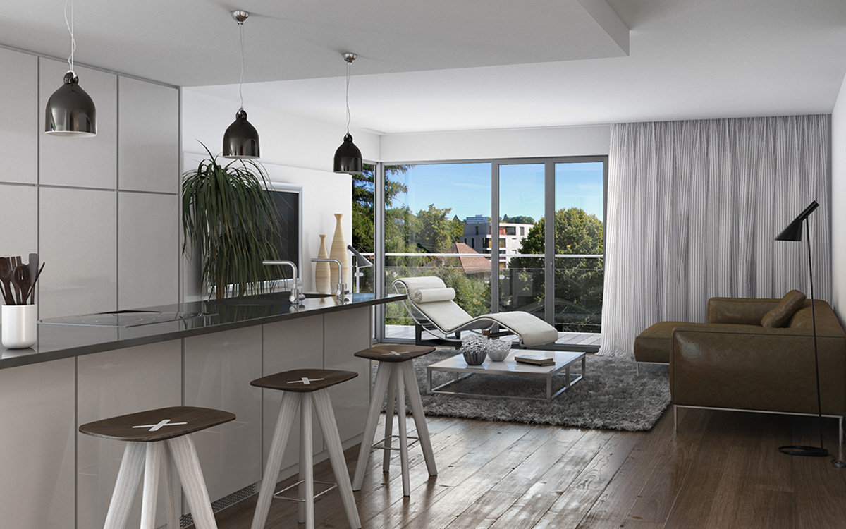 Immeuble à vendre Lausanne, immeuble violettes, promotion, image 3D, image de synthèse, ab-concept, immobilier, achat et vente, promotion immobilière.